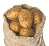 a fresh raw potatoes in a sack on a white background - 182027496