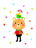 cute teddy bear and bird valentine greeting