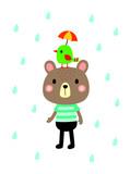 cute teddy bear and bird in rain vector