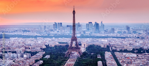 Paris, France. Charming sunset city skyline. - 182028609