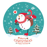 Vintage Christmas poster design with vector snowman, Santa Claus, elf characters. - 182032636
