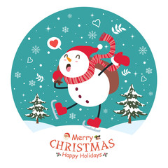 Vintage Christmas poster design with vector snowman, Santa Claus, elf characters.