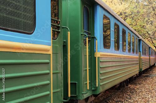 Wagons of a passenger retro train Poster