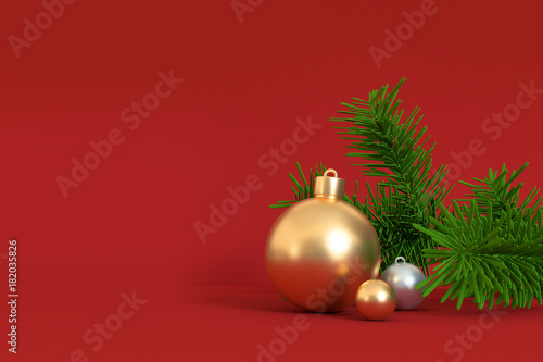 In de dag Bol 3d rendering gold ball green leaf red scene christmas holiday concept