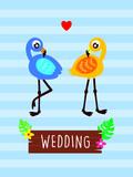 pink flamingo wedding greeting card vector
