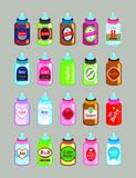 cute milk bottles with label vector