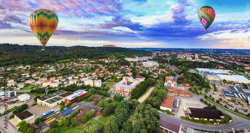 Wall mural air view of Coburg town