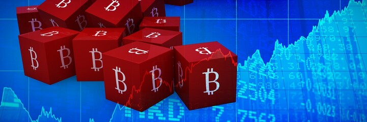 Composite image of several red cube with bitcoin sign on each