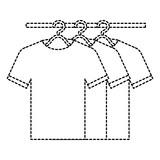 tshirts hanging in hook vector illustration design - 182040893