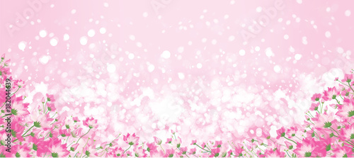 Vector pink floral border on pink bokeh background.