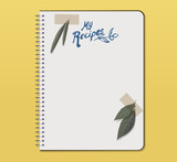 Recipe notebook with hand drawn text. Olive and laurel leaves with adhesive tape. - 182045808