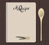 Recipe notebook graph with hand drawn text. Olive leaves. Spoon fork. Wooden background. - 182045820