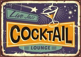 Cocktail lounge retro sign design with martini glass and creative typo - 182046031
