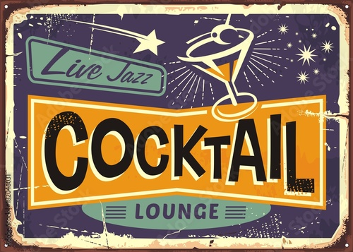 Fotobehang Vintage Poster Cocktail lounge retro sign design with martini glass and creative typo