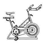 Sport equipment bike engraving vector illustration