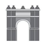 castle building icon image vector illustration design  grey color - 182050231