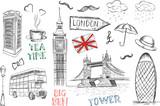 Set of England symbols. - 182050282