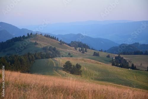 Świt w Pieninach / górski krajobraz tuż po wschodzie słońca, lato
