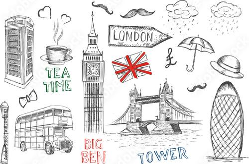 Set of England symbols.