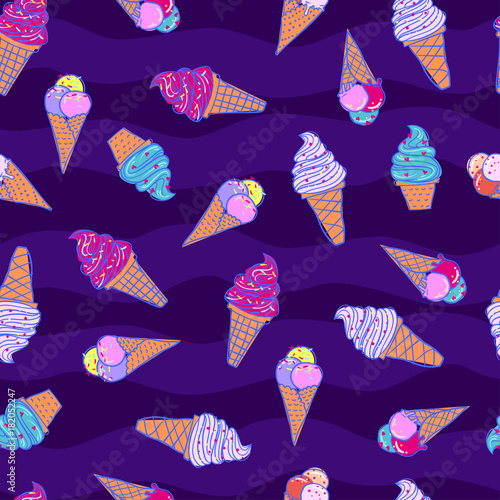 Fototapeta seamless summer pattern with icecream For teenagers