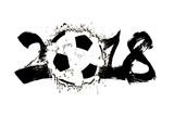 Abstract number 2018 and soccer ball