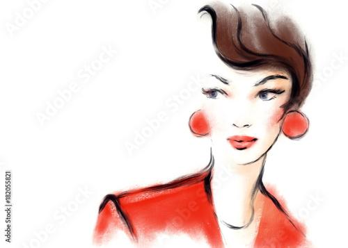 Young woman. Fashion illustration.