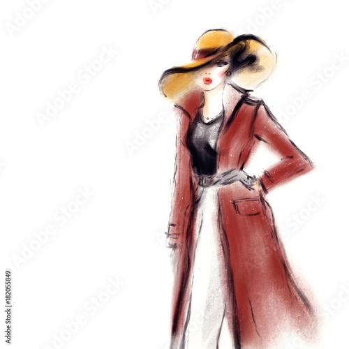 Woman in coat. Fashion illustration.