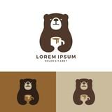 coffee bear logo hold mug logo