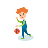 Smiling little boy character playing basketball, kids physical activity cartoon vector Illustration