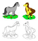 Two coloring cartoon cute horses vector