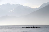 Rowers on row boat, Annecy lake, france - 182062418