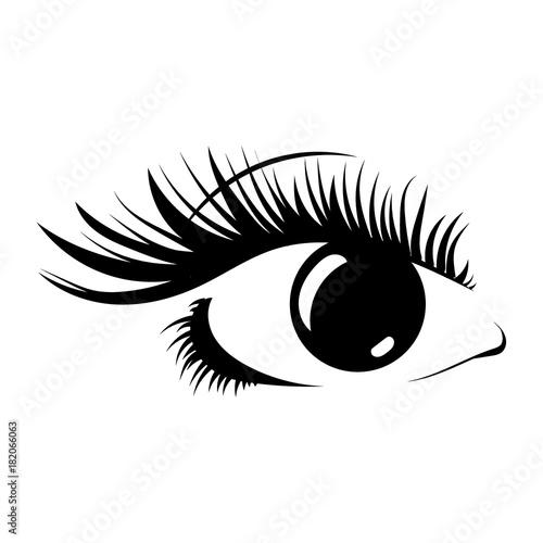 Fototapeta Logo of eyelashes. Stylized hair. Abstract lines of triangular shape. Black and white vector illustration.