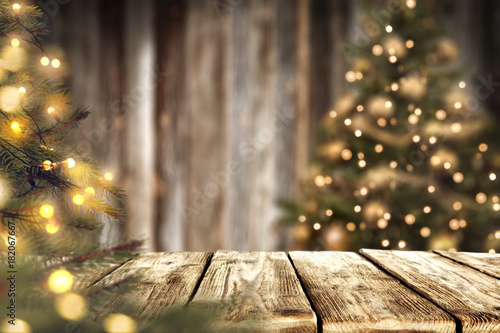 Foto Murales christmas time and desk of free space for your decoration.