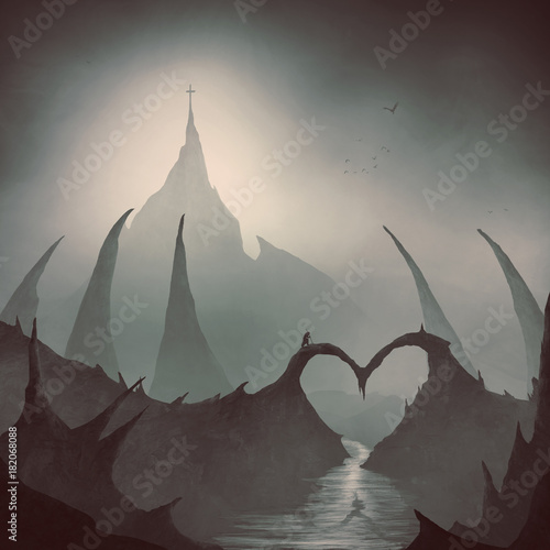 Plexiglas Chocoladebruin Heart bridge leads to a cross