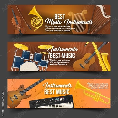 Staande foto Muziekwinkel Set of isolated badges for music instruments