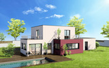 External view of a contemporary house with pool - 182072650