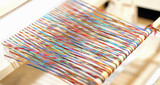 wood frame for spinning fabrics and colored threads - 182084006