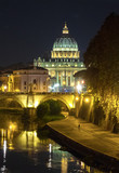 Rome (Italy) - The Tiber river and the monumental Lungotevere. Here in particular the Saint Peter basilica in Vatican - 182084023
