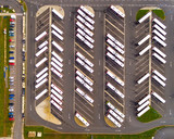 Aerial view of parking lot with cars. Industrial background on transportation theme.  - 182085000