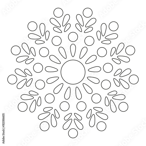 Simple Mandala. Round Element For Coloring Book. Black Lines on White Background. Abstract Geometric Ornament. Vector.