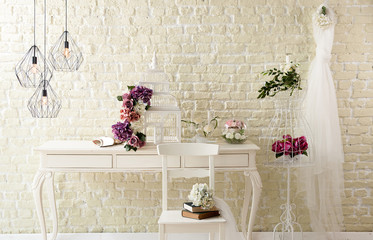 brick white wall interior decoration