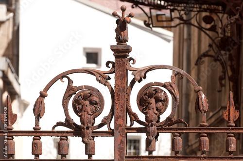 Rusty iron gate detail