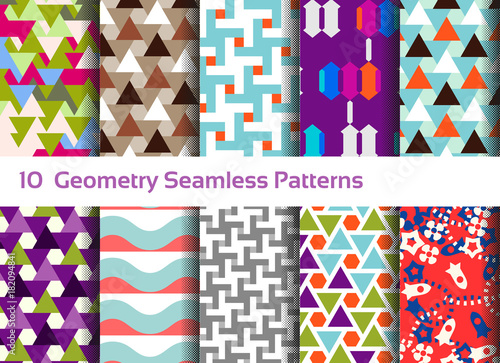 Geometric seamless pattern background. Set of 10 abstract motifs. Colorful shapes compositions, triangles, squares and waves