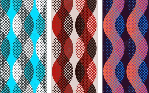 Abstract seamless pattern set. Pixelated waves motif background geometric shapes. Print imitation illustration