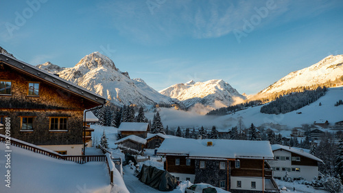Foto op Aluminium Bergen Winter wonderworld sunrise in Lech, Austria