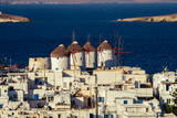 Greece Mykonos Windmills at sunny day with falling star in Mykonos Island Greece Cyclades - 182099063