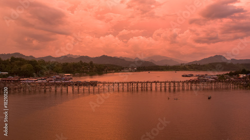 Foto op Canvas Koraal Aerial view of The old wooden bridge (Mon bridge) at Sangkhlaburi, Kanchanaburi. Thailand.