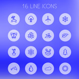 Set Of 16 Ecology Outline Icons Set.Collection Of Recycle, Fir Tree, Cloud And Other Elements. - 182102236