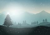 Winter Christmas tree landscape