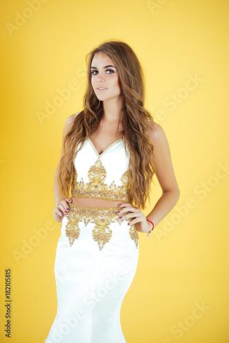 Girl with long brunette hair